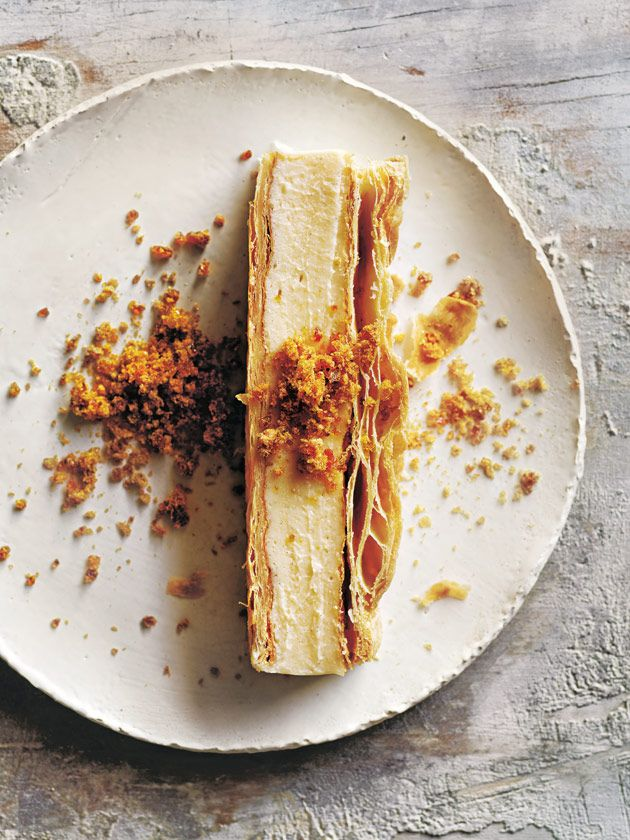 vanilla slice with vanilla bean praline