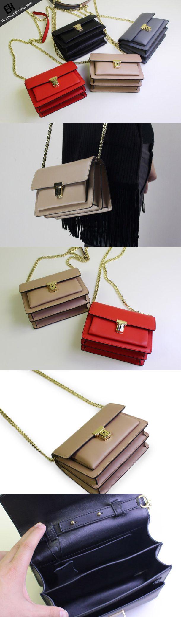 Genuine Leather handbag shoulder bag black red for women leather crossbody bag