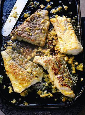 Grilled Haddock with Caramelized Garlic - Abadejo a la Plancha con Ajo Caramelizado