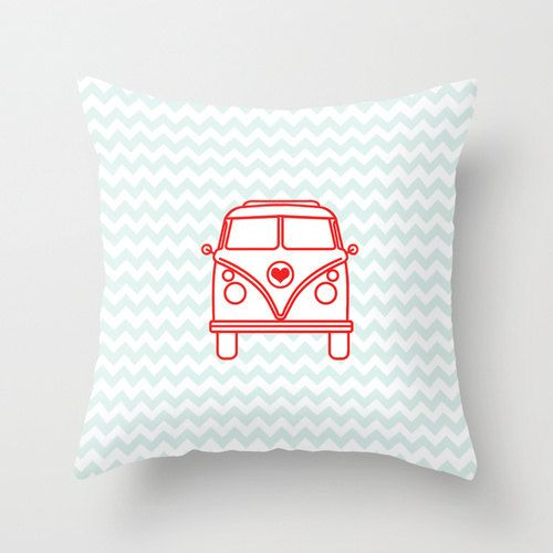 Pillow Cover, Vintage Van Pillow, Throw Pillow, Nursery Room Pillow, 16x16 Pillow Decorative ...