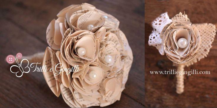 Bouquet sposa realizzato con fiori di carta, pagine di libro e giornale, decorati con perle. By Trilli e Gingilli info@trilliegingilli.com - www.trilliegingilli.com