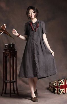 Linen Shirt Dress in Charcoal for women 【Details】 1. beautiful handmade tucks all on the front and back 2. single breasted with wood buttons. 3.