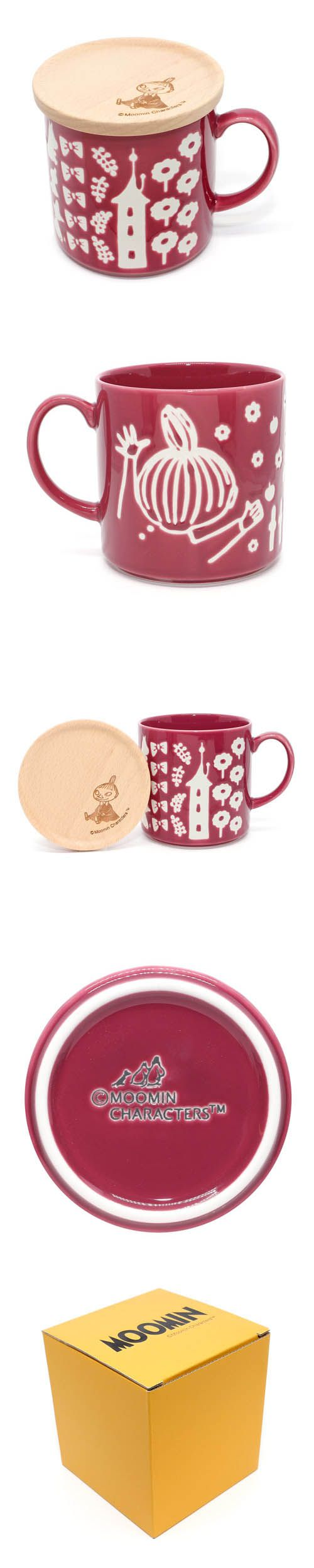 Muumi Moomin Valley Ami red ceramic mug wooden lid box set by YamaKa  KawaMono.com