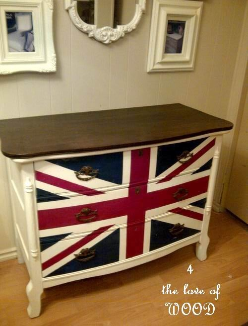 step by step how to paint your own British Flag dresser