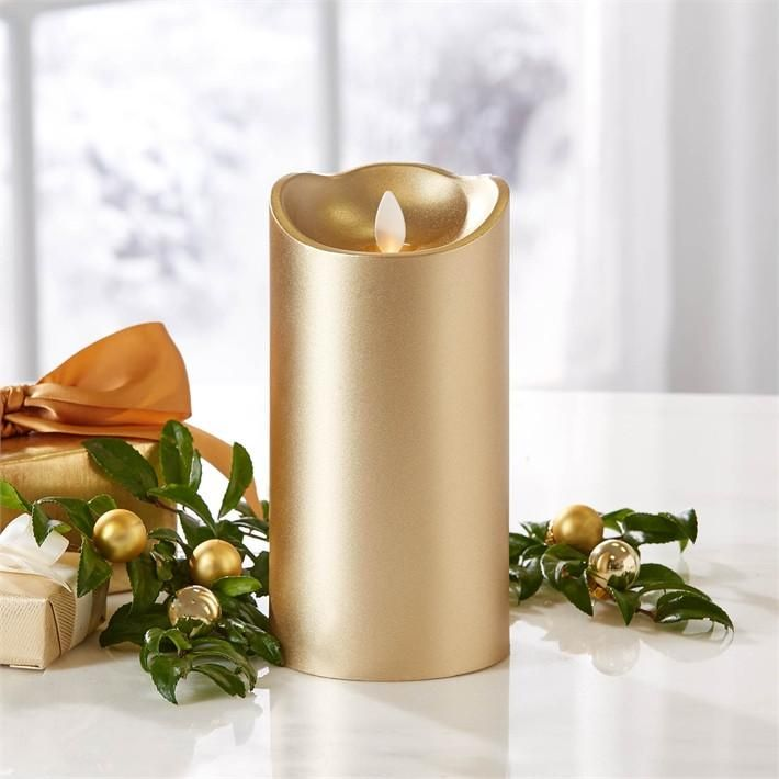 """$150.00 Two's Company 7"""" Gold Dazzler Candle Set of 3 7"""" H x 3 1/2"""" Gold Dazzler Twin Light Flickering Candle with 2 Timer and Remote-Control Options in Gift Box - Unscented Wax/Plastic  Sold as a set of 3 ."""