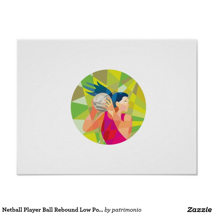 Netball Player Ball Rebound Low Polygon Poster