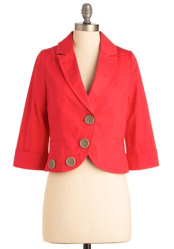 Ohmystars. Coral is so lovely.: Light Pink Blazers, Corner Blazers, Unique Style, Vintage Jackets, Big Buttons, Coral Jackets, Buttons Details, Modcloth Com, Crop Blazers