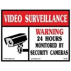 14 in. x 10 in. Video Surveillance Sign Printed on More Durable, Thicker, Longer Lasting Styrene Plastic, White With Black And Red Printing