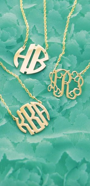 Beautiful gold monogrammed necklaces never go out of style.