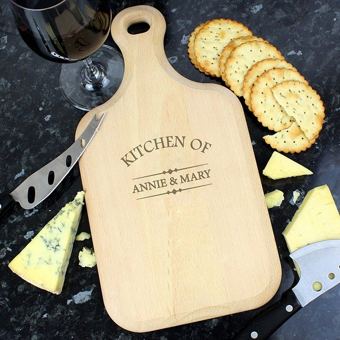 Personalised Kitchen Of Large Paddle Chopping Board P011474 Make a statement with this impressive personalised chopping board