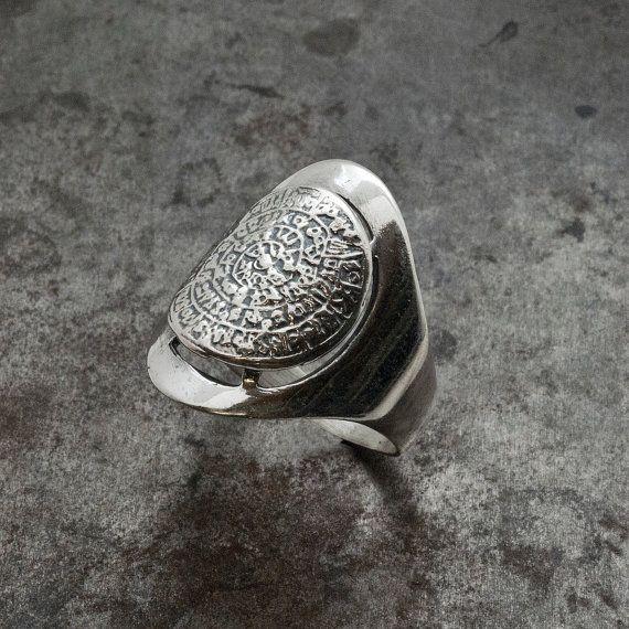Chevalier Greek Phaistos Disc Ring Silver Big by GreekMythos