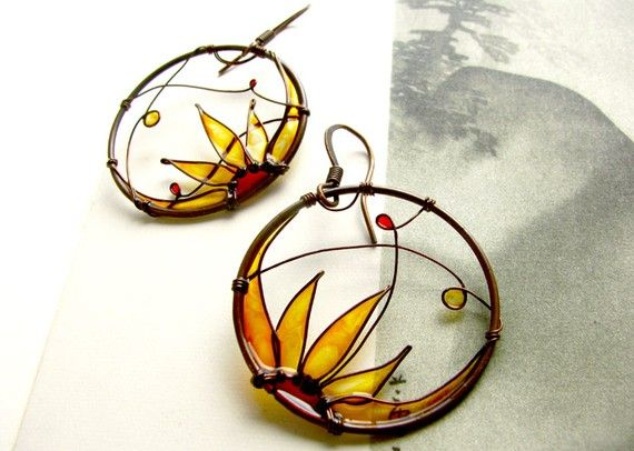 Sunflowers Round Copper Earrings
