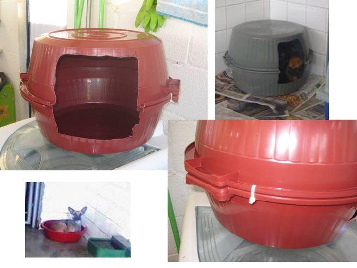 Дом домик для собаки из пластиковой миски