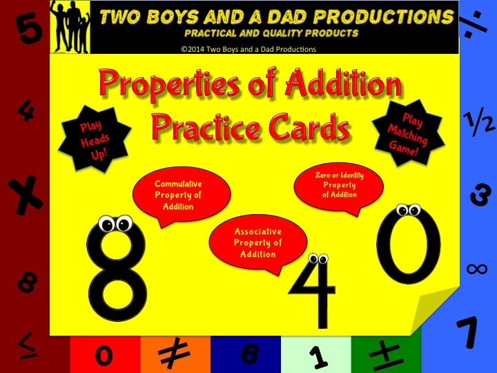 This is a set of 12 cards that can be used in many ways for students to practice or memorize the following properties of addition:  --Commutative Property of Addition --Associative Property of Addition --Zero or Identity Property of Addition  There are 4 cards for each property.