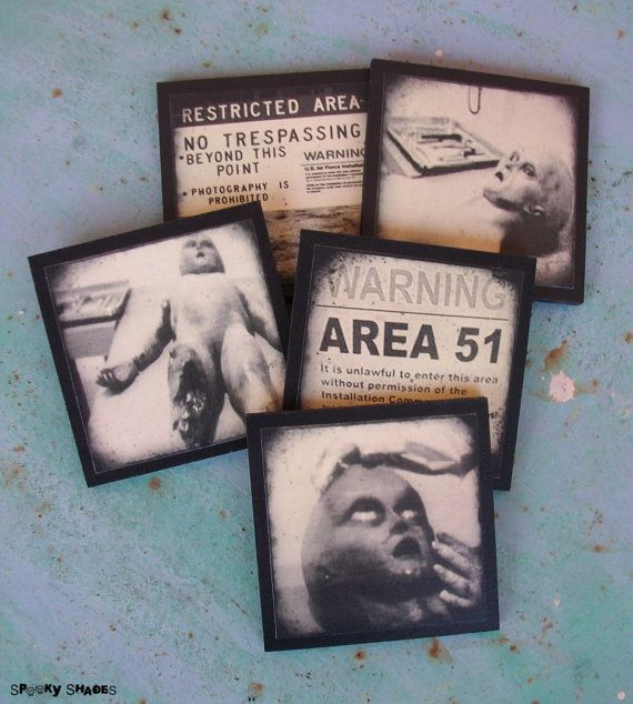 Area 51 coasters set of 5 wooden coasters halloween decor