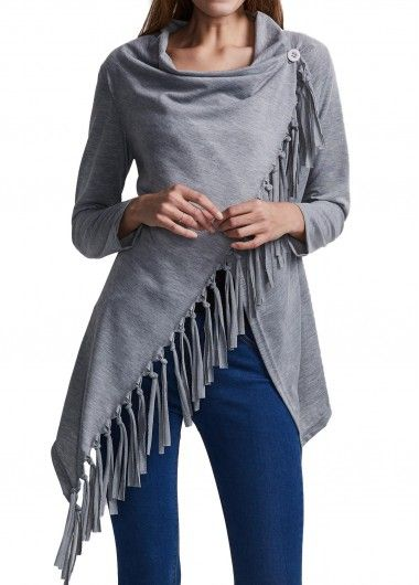 Fringes Decorated Long Sleeve Asymmetric T Shirt on sale only US$23.97 now, buy cheap Fringes Decorated Long Sleeve Asymmetric T Shirt at lulugal.com