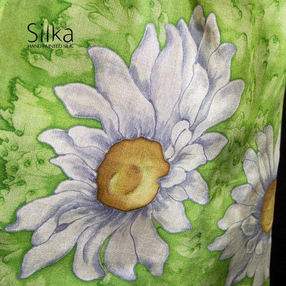 zielony jedwabny szal z kwiatami - Inne - Dodatki w ArsNeo