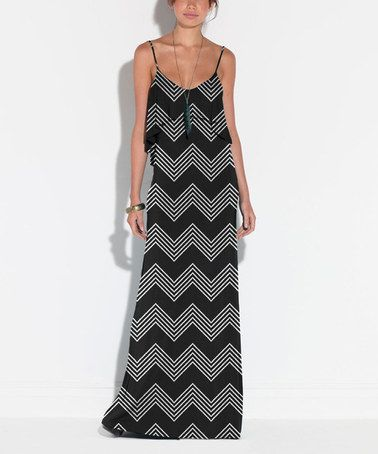 Another great find on #zulily! Black & White Zigzag Cartegena Maxi Dress by TART Collections #zulilyfinds