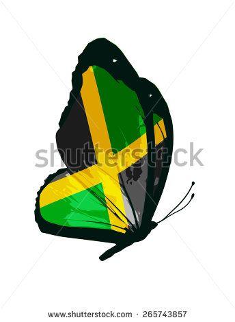 Jamaican flag butterfly - vector