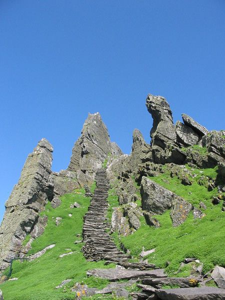 Skellig Michael island, Ireland.. there's a really awesome deserted Christian monastery that is very well-preserved