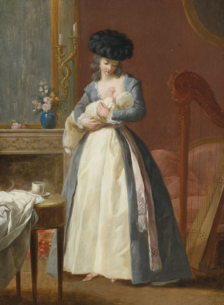 A LADY, SAID TO BE MADAME DANLOUX, NURSING HER CHILD IN A DRAWING ROOM, by François-Guillaume Ménageot (London 1744-1816 Paris). Sothebys