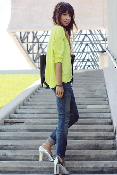 yellow, silver shoes: Sincerelyjules, Fashion, Style, Neon, Outfit, Silver Shoes, Sincerely Jules
