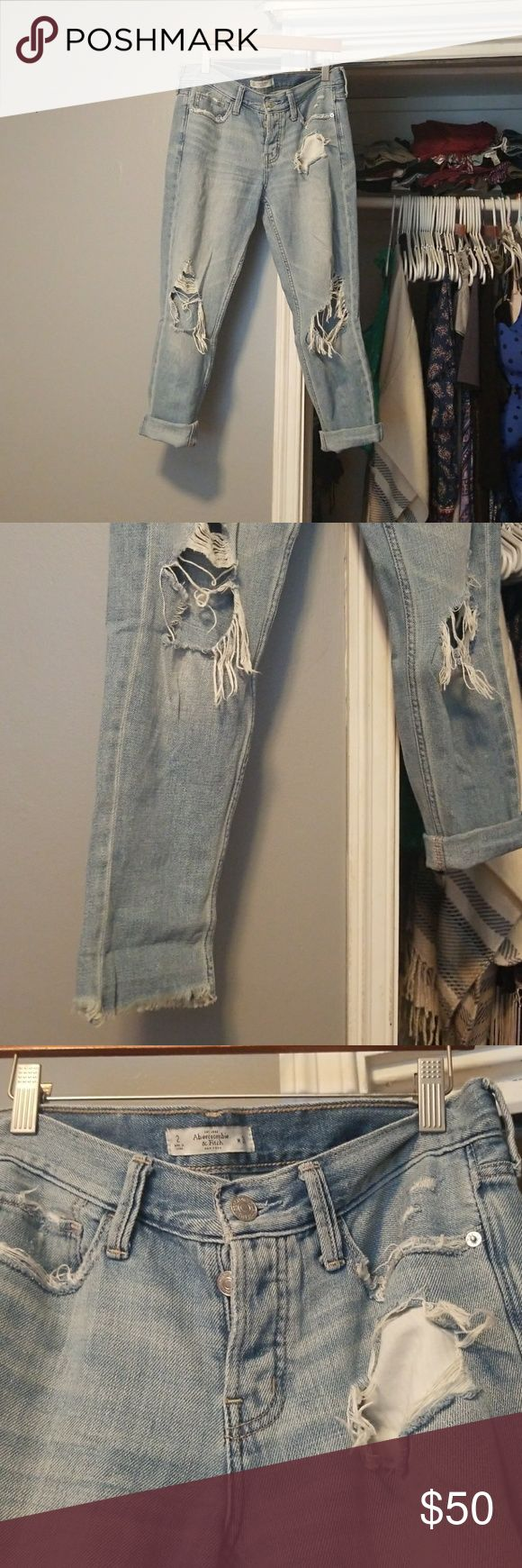 Boyfriend fit jeans Blow out knees. Can be rolled or unrolled to desire. Button up fly(no zipper). Gently used. These were one of my favorite pair of jeans but unfortunately my butt no longer fits them after having my baby:( they deserve a good home! Offers are more than welcome :) Abercrombie & Fitch Jeans Boyfriend