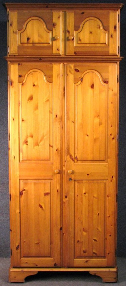 Ducal Pine Wardrobe / Armoire / Robe With Removable 2 Door Cupboard Above No 1 #Ducal