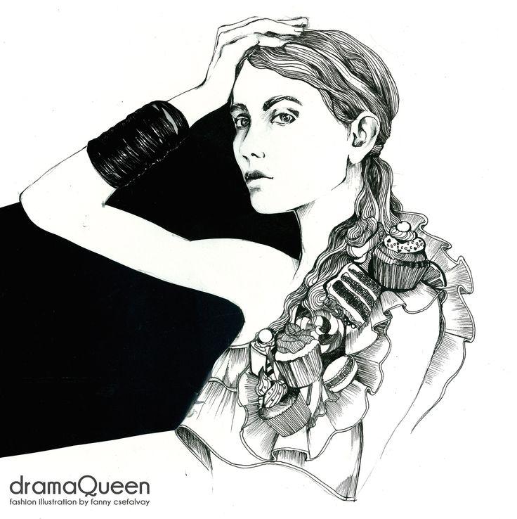 dramaQueen-fashion illustration by Fanny Csefalvay