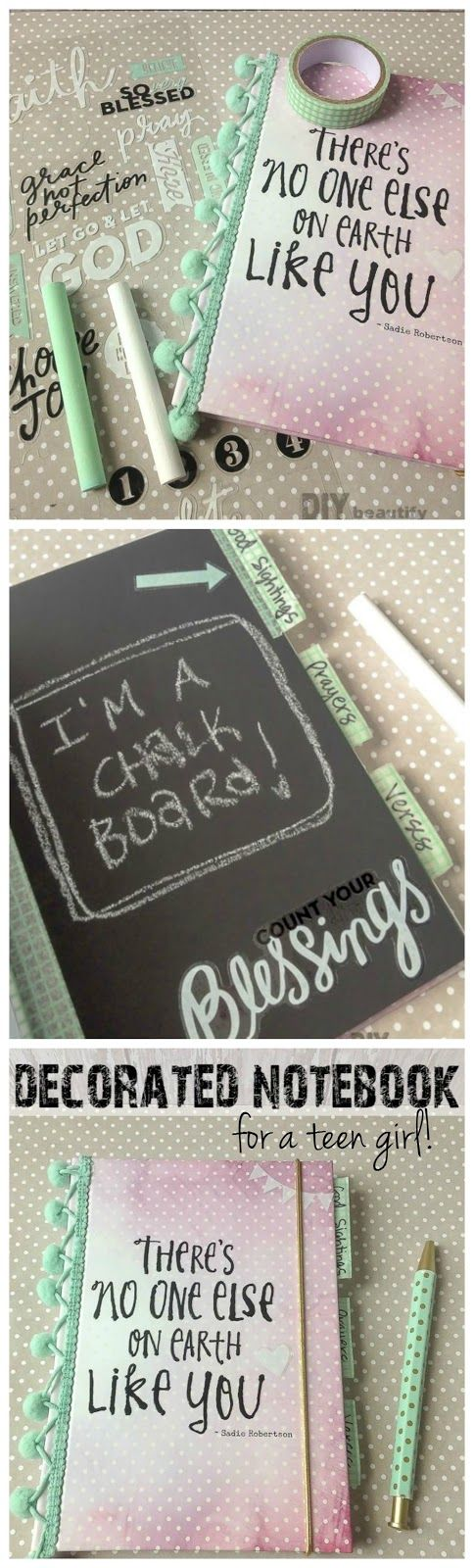 Decorated notebook for teen girl using Live Original line | DIY beautify
