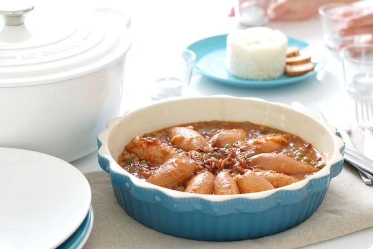 Chipirones en salsa con arroz, en cocotte