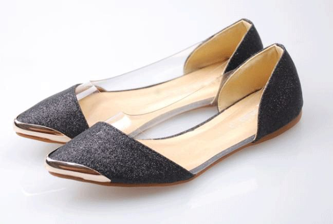 Dresswe.com SUPPLIES Fashionable Black PU Upper Transparent & Metal Pointed Toe  Flat Heels Flats