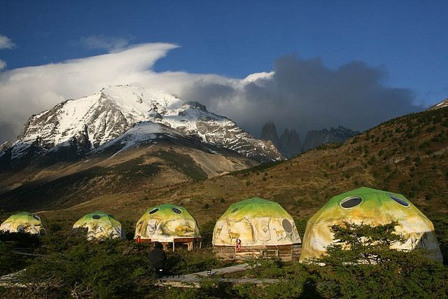 Eco Camp Patagonia, Chile  These cozy and comfortable domes are an eco-friendly place to stay in one of the most beautiful places in the world. Website