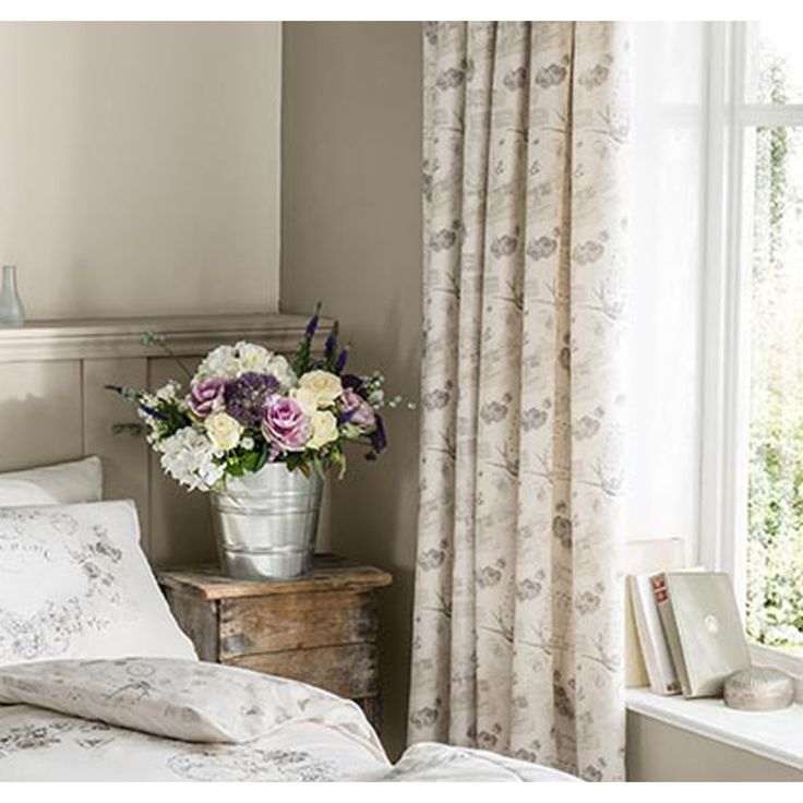 """Catherine lansfield Je taime natural french country pencil pleat curtains 66"""" x 72"""". Available now at www.emporiumhomeinteriors.co.uk #curtains #homedecor #home"""