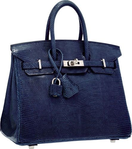 Hermes 25cm Blue de Malte Nilo Lizard Birkin Bag with Palladium Hardware