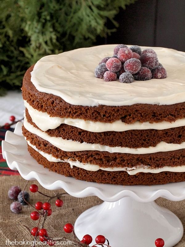 Gluten Free Gingerbread Cake with Eggnog Cream Cheese Frosting @FoodBlogs