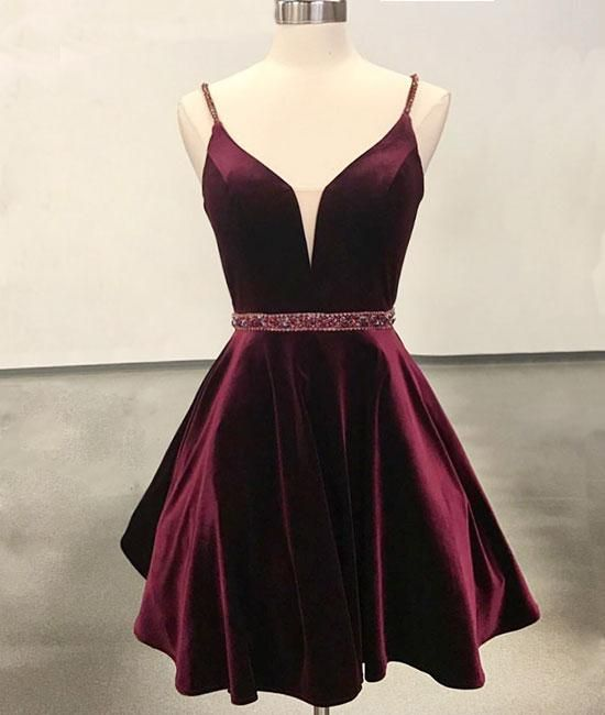 Simple v neck velvet short burgundy prom dress, burgundy homecoming dress