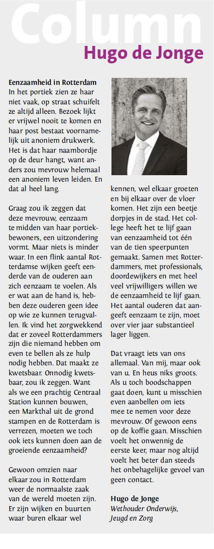 wethouder Hugo de Jonge