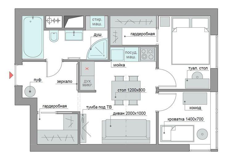 Фотография:  в стиле , Квартира, Планировки, Перепланировка, ЖК АРТ, перепланировка двухкомнатной квартиры, двушка, планировка двушки, ЖК ART – фото на InMyRoom.ru