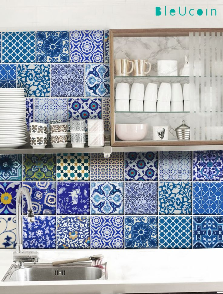 Kitchen bathroom indian jaipur blue pottery tile wall for Wallpaper for home walls jaipur