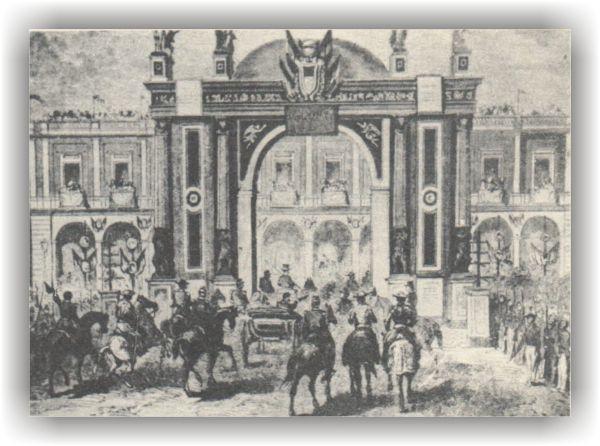 El 29 de mayo de 1864, los emperadores Maximiliano y Carlota cruzando el zocalo de Veracruz, al fondo se ve el hotel Diligencias. Fuente: Artes de México.