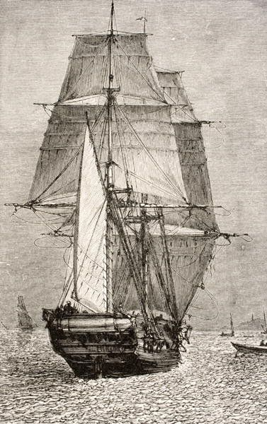 """The Brig HMS """"Beagle"""", from 'Journal of Researches' by Charles Darwin (1809-92) published by Nelson and Sons, 1890 (engraving) Wall Art & Canvas Prints by English School"""