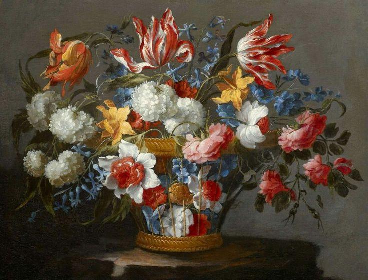 Juan de Arellano, A Wicker Basket with Flowers