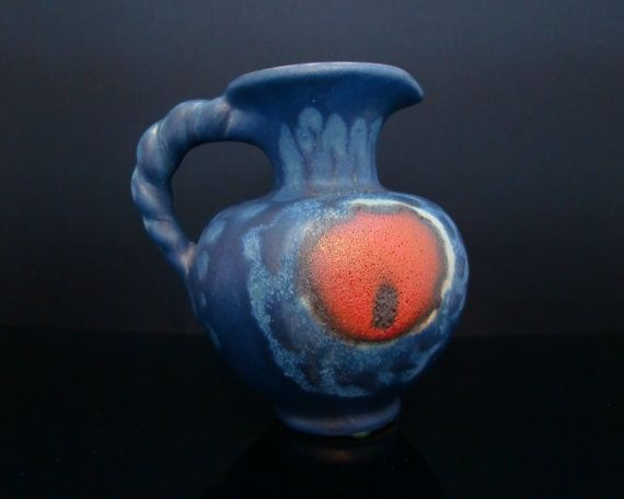 SILBERDISTEL Small Blue Fat Lava Pottery Vase in Vivid Blue with Red Lava Decor // Mid Century West Germany Collectible Pottery