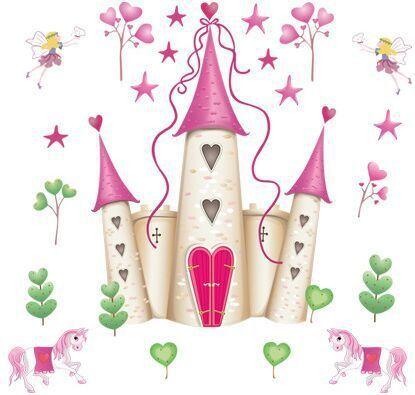 DF5083 nueva llegada habitación extraíble rosado de la princesa del castillo de la muchacha etiqueta de la pared de la torre para las niñas / niños / niños del dormitorio de pared