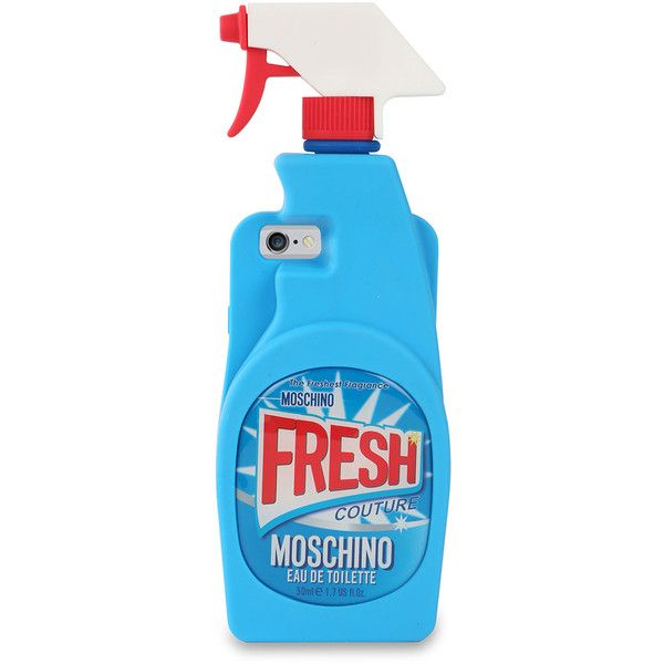 Moschino Cleaner Silicone iPhone 6 Case ($100) ❤ liked on Polyvore featuring accessories, tech accessories, light blue and moschino