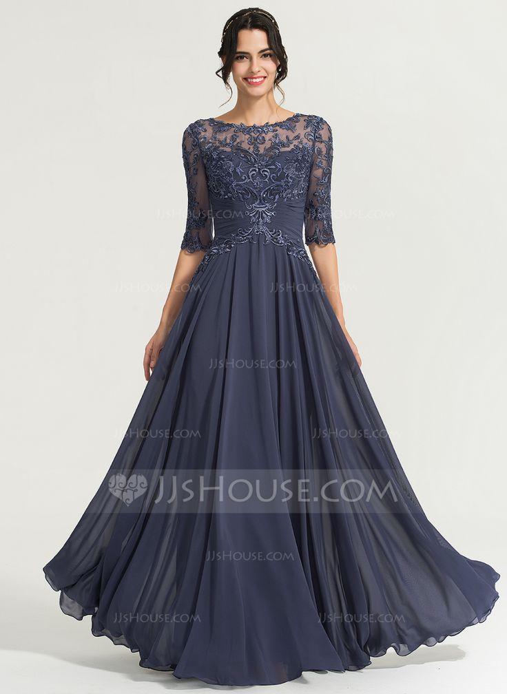 A-Linie / Princess-Linie U-Ausschnitt Bodenlang Chiffon Abendkleid mit Pailletten (0171677 …   – Fashion
