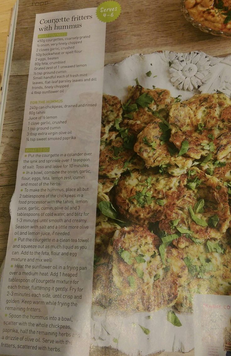 Courgette fritters with hummus