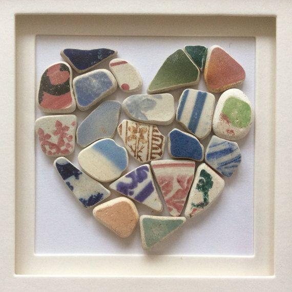 Playa cerámica amor corazón roto el mosaico de cerámica arte