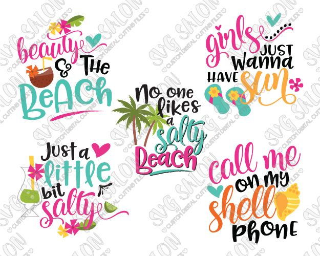 Girly Beach Bundle Cut File Set in SVG, EPS, DXF, JPEG, and PNG